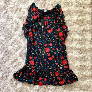 J.CREW Factory floral print shift dress w/ ruffles
